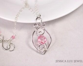 Pink Swarovski Crystal Necklace Sterling Silver Swarovski Crystal Necklace Light Pink Necklace Sterling Silver Jewelry Swarovski Pendant