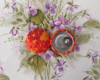Fabric Covered Button Earrings / Burnt Orange / Wholesale Jewelry / Autumn / Wholesale Jewelry / Vintage Inspired / Small Gifts for Her