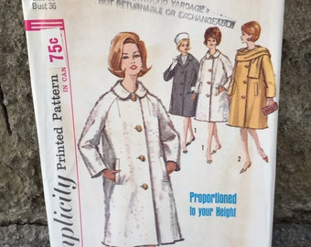 60's Simplicity 5148 Pattern Misses' Coat and Scarf - Size 16 Bust 36 Factory Folded