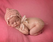 Crochet Pixie Bonnet, Newborn Bonnet, Baby Girl Photography Prop