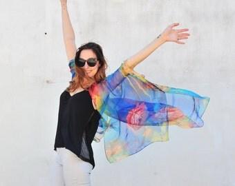 Sheer Kimono: Blue and Yellow Floral Sheer Kimono Bathing Suit Cover Up