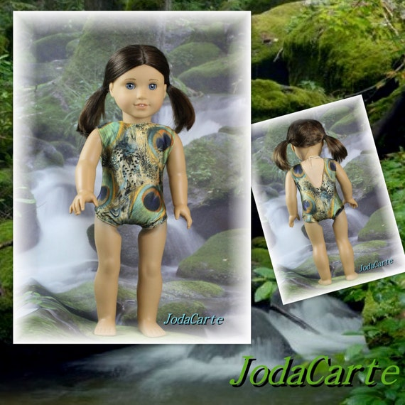 "Doll Leotard/Swim Suit ""Proud as a Peacock"" for American Girl Doll"