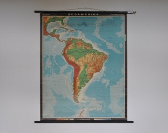10% OFF Vintage Pull Down School Chart. South America. Mid Century.  Pull down map. 1158