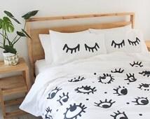 Eyes Duvet Cover - Single, Three Quarter, Queen & King 100% Cotton Bed Linen - Evil Eye - Eyelash Pillows