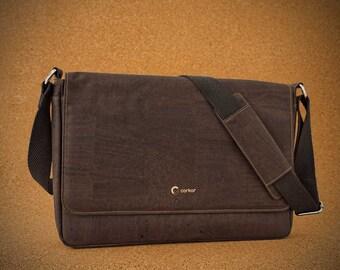 """Messenger Bag for Men - Laptop briefcase for 15"""" Laptop in cork - Vegan Gifts - Dark Brown Color (CK148)"""