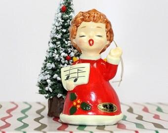 Vintage Josef Original Christmas Caroler*Choir Girl Ceramic Figurine*Vintage Japan Christmas Tree Ornament