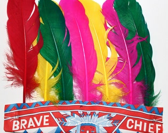 Vintage Brave Chief Native American Indian Headdress*Pretend Play*Indian Costume*Set of 6