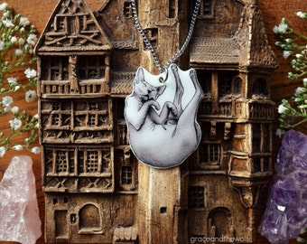"""SALE - Illustrated Necklace - """"Sleeping Sphynx"""" by Grace and the Wolf, shrink plastic, resin and stainless steel chain 50cm/20 inches long"""