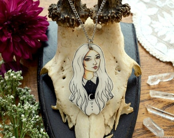 """SALEIllustrated Necklace """"Wednesdays Child Outline""""by Grace and the Wolf,shrink plastic, resin and stainless steel chain 50cm/20 inches long"""