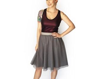 Women's gray tulle skirt, Adult tutu skirt, Gray skirt, Autumn skirt, Bridesmaid skirt, Midi skirt, Tulle skirt, Tulle skirt casual