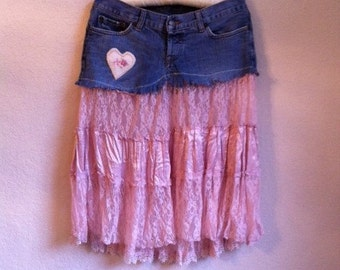 Jean Skirt With Pink Lace