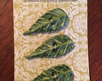 Handmade Ceramic Buttons Green Leaves (Set Of 3 )
