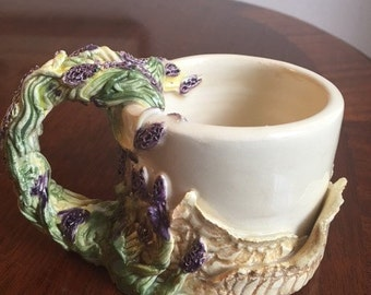 Lavender And Lace Handmade Ceramic Mug