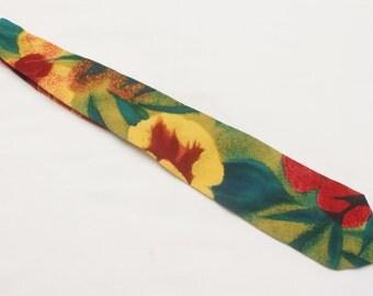 "90's Vintage ""SAVILLE"" Floral Patterned All Silk Tie"