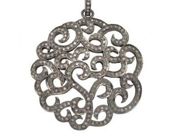Diamond Swirl Pendant with Pavé Bail! 43mm Beautiful Diamond Statement Pendant! 3.4 Carats of Diamonds!