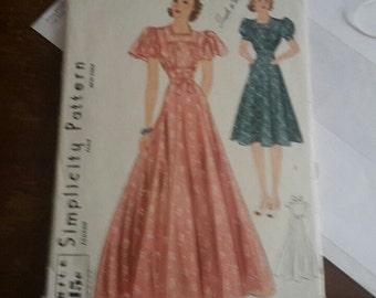 1930's UNCUT Long gown & Dress Pattern Simplicity 3303 Size 12 Bust 30