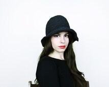 Black Floppy Sun Hat . Black Hat Black Straw Hat black Straw sun hat Summer hat Beach hat 70s sun hat 70s hat 1970s hat 1970s sun hat