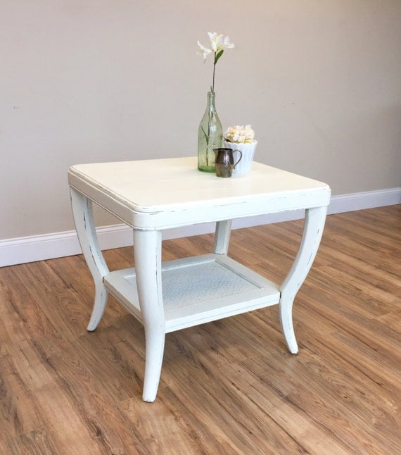 White End Table - Sofa Side Table - White Side Table for Living Room - White Bedside Table - Used Furniture NYC - Country Furniture