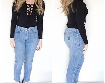 Vintage 80s striped jeans high waist jeans skinny blue jeans pants