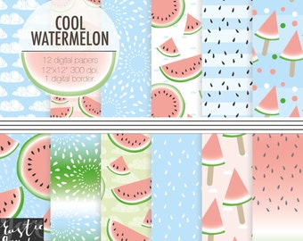 COOL WATERMELON digital paper, summer watermelon ice cream clip art, seeds, clouds, slice patterns  on background.