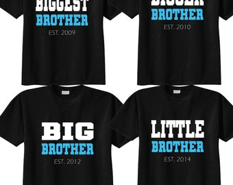 Matching Biggest Brother, Bigger Brother, Big Brother, Little Brother Sibling T shirt set on BLACK Tees