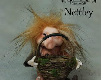 OOAK Pixie Brownie Art Doll Sculpture - Nettley - Pixie Twin by Ksheyna Nightswood