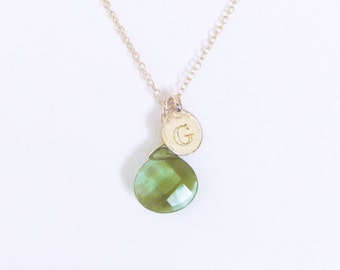 Letter G necklaces, unique G clear green glass stone charm with gold plated initial coin, personalized girlfriend jewelry g gifts for wife