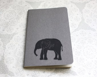 Elephant print note book | Grey | Moleskine | Cahier Journal | Lined pages | Lino print | Handmade | Pocket size |
