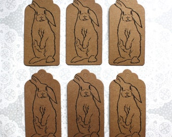 Bunny Rabbit tag set of 6 with twine | Birthday | Christmas | Gifts | Lino print | Handmade | Bunnies | Rabbits |