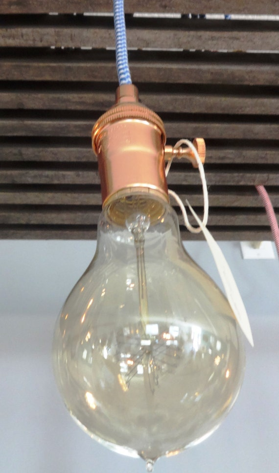 Hanging Lamp, Copper-toned fittings with retro blue/white cord