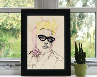 Jessica Stam Print // Embroidery // A4 Print // Illustration // Wall Art // Unframed