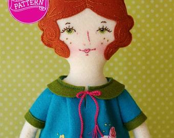 PDF Doll Pattern, Wool Felt Doll, Art Doll, Wool Felt Pattern, Gifts for Children, Embroidery Doll, Toys & Gifts, Handmade Doll, 1920s Girl