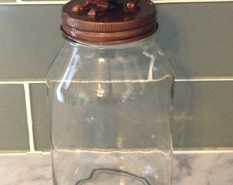 Recycled Glass Jar - Chihuahua in Metallic Copper