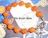 HALLOWEEN BRACELET, Orange Gemstone Bracelet, Black Cat Bracelet, Imperial Topaz Bracelet, Halloween Jewelry, Black Cat Charm,Wiccan, Pagan