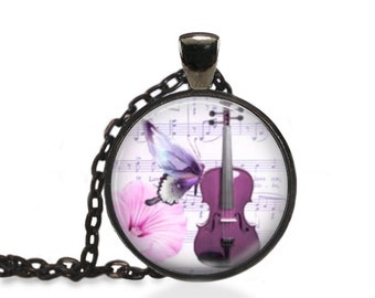 Violin Music Jewelry, Butterfly Musical Pendant, Music Violin Necklace [C2]