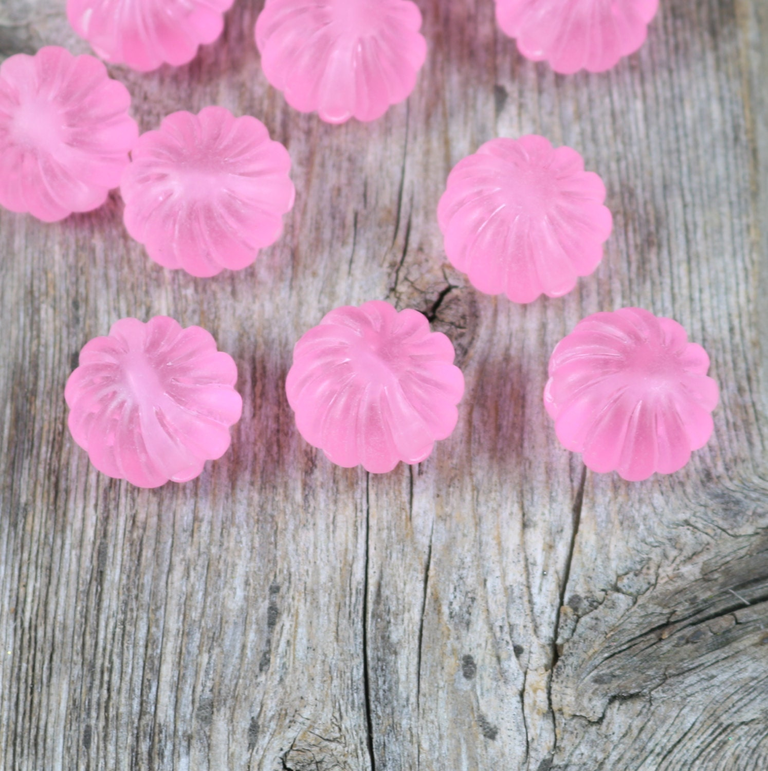 Acrylic Cotton Candy Pink Beads Flower Shape by CastlebarnCurio