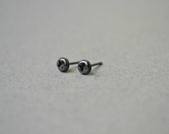 Black Screw Mens Stud Earrings, Rustic Stud Earrings, Steampunk Mens Jewelry, Oxidized 925 Sterling Silver Earrings