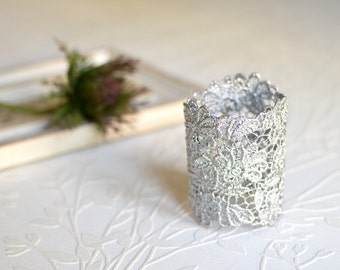 Lace bridal cuff bracelet, Silver lace cuff, Silver lace bracelet, Wedding lace bracelet, Bridesmaid bracelet, Flower bridal cuff, Prom gift