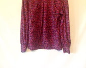 vintage turtleneck blouse 1980s magenta top long-sleeve magenta graphic print top size 9/10 medium blouse 1980s 80s eighties pink top