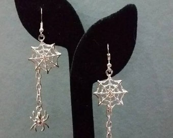 MOVING SALE! Silver-tone Spider web Halloween Costume Earrings/ jewelry