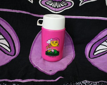 Vintage Glo Worm Glo Friends Thermos. 80s Kid Lunchbox Accessory. Glo Worm Glo Friends Colelctible Pink Thermos. Retro 80s Lunchbox Thermos