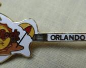 Hard Rock ORLANDO White Guitar Pin with Palm Tree, Sun and Beach Umbrella