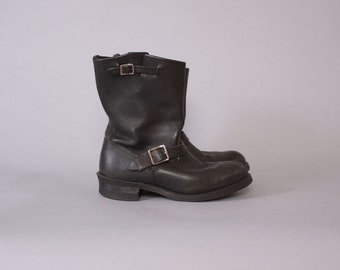 Vintage FRYE BOOTS / Black Leather Buckle Engineer Biker Gaucho Moto Boots 10