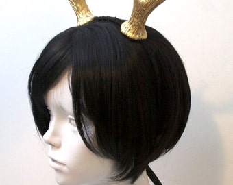 """5"""" Gold Deer Antlers / Faun Costume Headband / Resin Cast - Ready to Ship"""