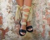 Leather sandals with interchangeable silk scarf laces. Fully Customizable. NIOVI 03