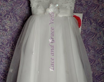Communion Dress, Size 6  with Choice of Handmade Veil (15)