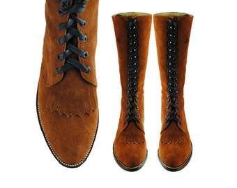 SUEDE Tall Lace Up Boots >> Knee High >>FRINGE Combat Boots. KEROUAC. (All Men and Women sizes)