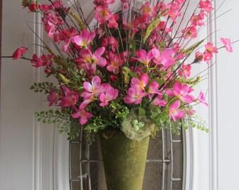 Pink Wreath - Summer Wreath - Spring Decor - Front Door Wreath - Spring Wreath - Door Pocket - Mothers Day Wreath - Door Arrangement