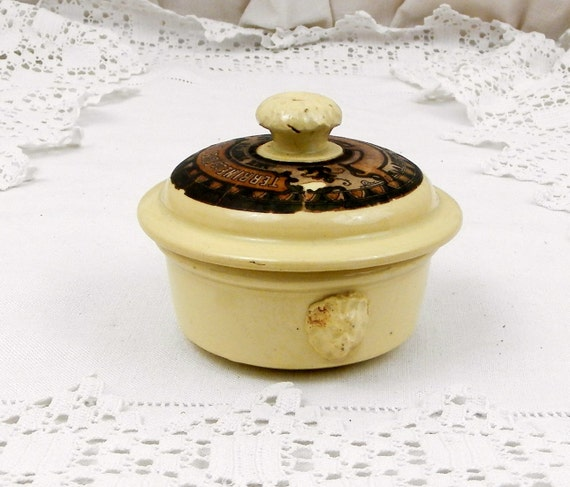 """Small Antique """"Terrine de Foies Gras aux Truffes"""" Truffles Lidded Pot with Original Paper Label by Sarrguemines from France, French Countr"""