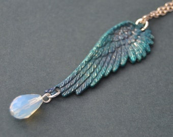 Rustic blue angel wing necklace - opalite necklace, colorful wing necklace with opalite crystal drop, Wing jewelry wing pendant crystal